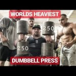 HEAVIEST DUMBBELL PRESS IN THE WORLD WITH RONNIE COLEMAN (250 POUNDS EACH)